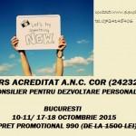 Curs autorizat (Centrul Metatron): Consilier pentru dezvoltare personala – din 10 octombrie 2015, Bucuresti