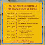 Din culisele psihologului. Psihologia vietii de zi cu zi - 5 martie 2016, Bucuresti