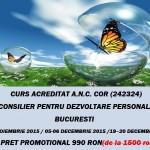 Curs autorizat (Centrul Metatron): Consilier pentru dezvoltare personala – noiembrie si decembrie 2015, Bucuresti